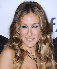 Sarah Jessica Parker Long Wavy Casual    Hairstyle   - Light Caramel Brunette Hair Color with Light Blonde Highlights
