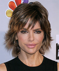 Lisa Rinna Short Straight Casual    Hairstyle with Side Swept Bangs  - Mocha Hair Color with Light Brunette Highlights