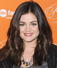 Lucy Hale Long Wavy Casual    Hairstyle   -  Brunette Hair Color