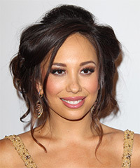 Cheryl Burke  Long Curly Formal   Updo Hairstyle   -  Mocha Brunette Hair Color