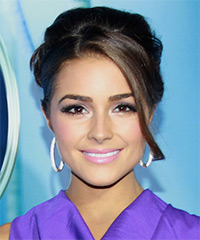 Olivia Culpo  Long Straight Formal   Updo Hairstyle with Side Swept Bangs  - Dark Brunette Hair Color