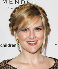 Sara Rue  Long Straight Casual  Braided Updo Hairstyle with Side Swept Bangs  - Dark Blonde Hair Color with Light Blonde Highlights