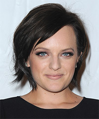 Elisabeth Moss Short Straight Casual    Hairstyle with Side Swept Bangs  - Dark Mocha Brunette Hair Color