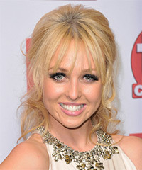 Jorgie Porter  Long Curly Formal   Updo Hairstyle with Blunt Cut Bangs  - Light Golden Blonde Hair Color