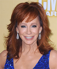 Reba McEntire Medium Straight Formal    Hairstyle with Side Swept Bangs  -  Ginger Red Hair Color