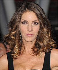 Dawn Olivieri Medium Curly Formal    Hairstyle   -  Golden Brunette Hair Color with Dark Blonde Highlights