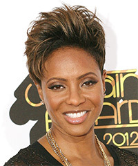 MC Lyte Short Straight Casual    Hairstyle   - Dark Brunette Hair Color