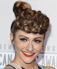 Amy Heidermann  Long Straight Formal  Braided Updo Hairstyle   -  Chestnut Brunette Hair Color