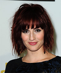 Alison Haislip Medium Straight Casual Layered Bob  Hairstyle with Blunt Cut Bangs  - Dark Red Hair Color