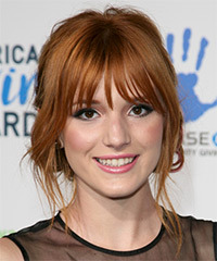 Bella Thorne  Long Straight Casual   Updo Hairstyle with Blunt Cut Bangs  -  Ginger Red Hair Color