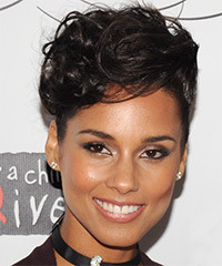 Alicia Keys  Medium Curly Formal   Updo Hairstyle   - Dark Mocha Brunette Hair Color