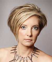 Short Straight Casual    Hairstyle   - Dark Blonde Hair Color with Light Blonde Highlights