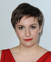 Lena Dunham Short Straight Casual    Hairstyle with Layered Bangs  -  Chocolate Brunette Hair Color