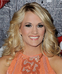 Carrie Underwood Long Wavy Formal    Hairstyle   - Golden Hair Color with Light Blonde Highlights