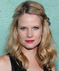 Joelle Carter  Long Curly Casual   Half Up Hairstyle   -  Golden Blonde Hair Color with Light Blonde Highlights