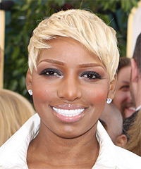 NeNe Leakes Short Straight Casual Layered Pixie  Hairstyle with Side Swept Bangs  - Light Blonde Hair Color