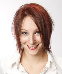 Short Straight Casual    Hairstyle   -  Red Hair Color with Light Red Highlights