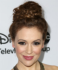 Alyssa Milano  Long Curly Casual  Braided Updo Hairstyle   - Dark Auburn Brunette Hair Color