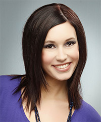Medium Straight Formal    Hairstyle   - Dark Burgundy Brunette Hair Color