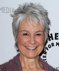 Andrea Romano Short Straight Casual    Hairstyle with Layered Bangs  -  Grey Hair Color
