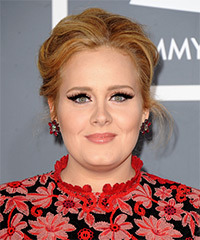 Adele  Long Straight Formal   Updo Hairstyle   -  Copper Blonde Hair Color with Light Blonde Highlights