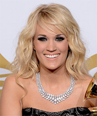 Carrie Underwood Long Wavy Casual    Hairstyle with Side Swept Bangs  - Light Blonde Hair Color