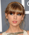 Taylor Swift  Long Straight   Dark Golden Blonde Braided Updo  with Blunt Cut Bangs