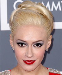 Kaya Jones  Long Straight Formal   Updo Hairstyle   - Light Blonde Hair Color
