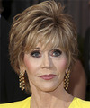 Jane Fonda Short Straight   Dark Chestnut Blonde   Hairstyle   with Light Blonde Highlights