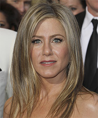 Jennifer Aniston Long Straight    Ash Blonde   Hairstyle   with Light Blonde Highlights
