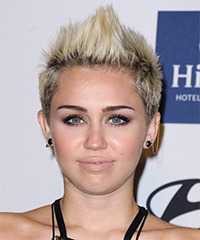 Miley Cyrus Short Straight Casual    Hairstyle   - Light Blonde Hair Color