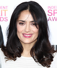Salma Hayek Medium Straight Formal    Hairstyle   - Dark Brunette Hair Color