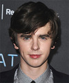 Freddie Highmore Medium Straight Casual    Hairstyle   - Dark Brunette Hair Color