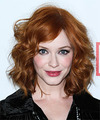 Christina Hendricks Medium Wavy Casual    Hairstyle   -  Ginger Red Hair Color