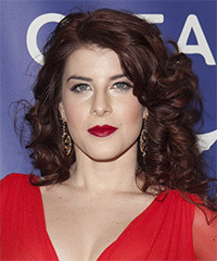 Olivia Cipolla Medium Curly Formal    Hairstyle   - Dark Burgundy Red Hair Color