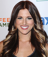 Cassadee Pope Long Wavy Formal    Hairstyle   - Dark Mocha Brunette Hair Color with Light Blonde Highlights