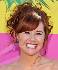 Haley Strode  Long Curly Formal   Updo Hairstyle with Side Swept Bangs  -  Red Hair Color