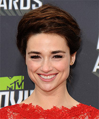 Crystal Reed  Long Straight Formal   Updo Hairstyle