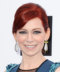 Carrie Preston  Long Straight Formal   Updo Hairstyle with Side Swept Bangs  -  Red Hair Color