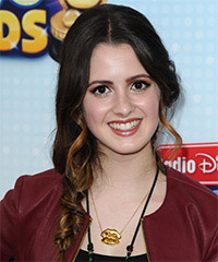 Laura Marano  Long Curly Casual  Braided Half Up Hairstyle   - Dark Brunette Hair Color