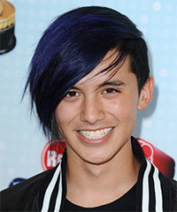 Cole Plante Short Straight Alternative  Emo  Hairstyle   - Black  and Purple Two-Tone Hair Color