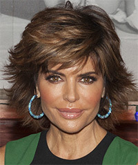 Lisa Rinna Short Straight Formal    Hairstyle   -  Brunette Hair Color with Light Brunette Highlights