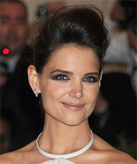 Katie Holmes  Long Straight Formal   Updo Hairstyle   - Dark Brunette Hair Color