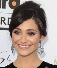 Emmy Rossum  Long Straight Formal   Updo Hairstyle