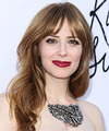 Jaime Ray Newman Long Straight Casual    Hairstyle with Layered Bangs  - Light Caramel Brunette Hair Color with  Blonde Highlights