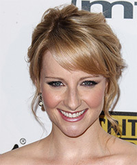 Melissa Rauch  Long Curly Formal   Updo Hairstyle   -  Strawberry Blonde Hair Color with Light Blonde Highlights