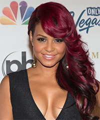 Christina Milian Long Straight Formal    Hairstyle with Side Swept Bangs  -  Burgundy Red Hair Color with Black Highlights