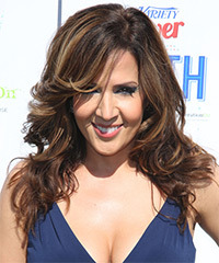 Maria Canals Berrera Long Wavy Formal    Hairstyle   -  Chocolate Brunette Hair Color with Dark Blonde Highlights