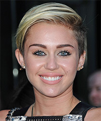 Miley Cyrus Short Straight Casual    Hairstyle   - Light Ash Blonde Hair Color