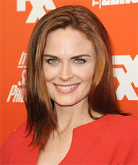 Emily Deschanel Medium Straight Casual    Hairstyle   -  Copper Brunette Hair Color